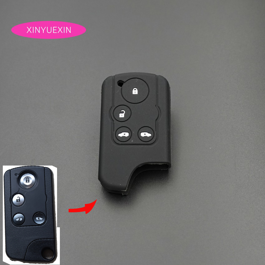 Xinyuexin Silicone Car Key Cover Case Fit For Honda Odyssey Elysion 4Button Remote Key Jacket Car-styling Silica Gel Before 2014
