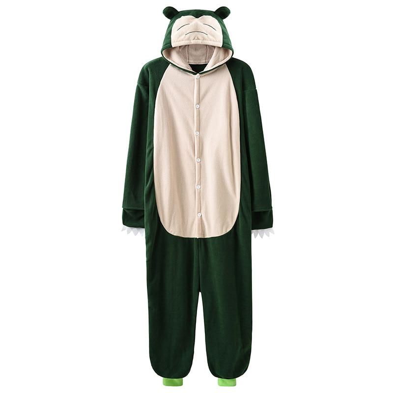 Snorlax Kigurumi Slippers Cartoon Suit Anime Onesies Adult Men Women Couple Pajama Cute Funny Hooded Polar Fleece Overalls