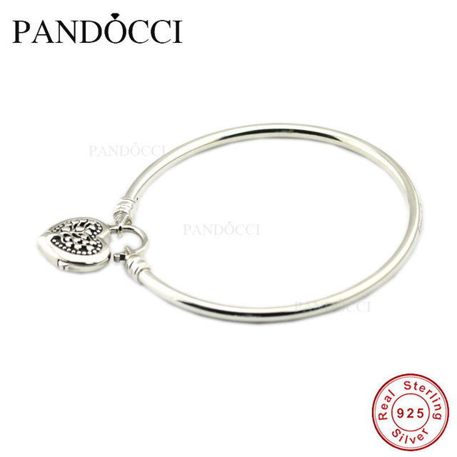 1f36039cb Limited Edition Flourishing Heart Padlock Bangle 925 Sterling-Silver DIY  Beads Fit Pandora Charm Exotic Bracelets for Women