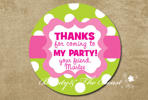 Personalized Green Gift Sticker Custom Party Favor Bag Labels Tags Birthday Decorations Kids
