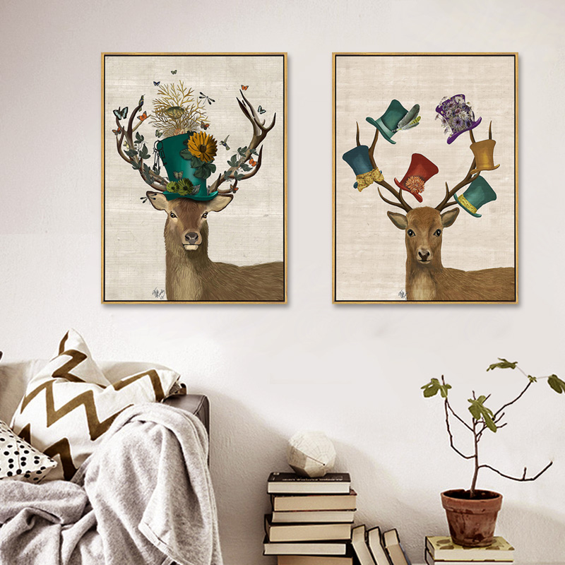 About deer World Second World War Vintage Canvas Poster Home Decor Quadros Decoration for Study Room Library Wall dcor