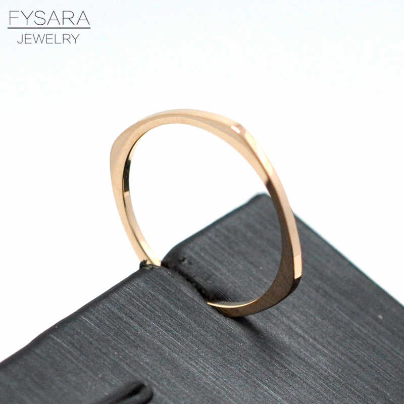 FYSARA Titanium Steel Rose Gold Color Flat Square Rings Anti-allergy Smooth Couple Wedding Tail Ring Women Man Fashion Jewelry