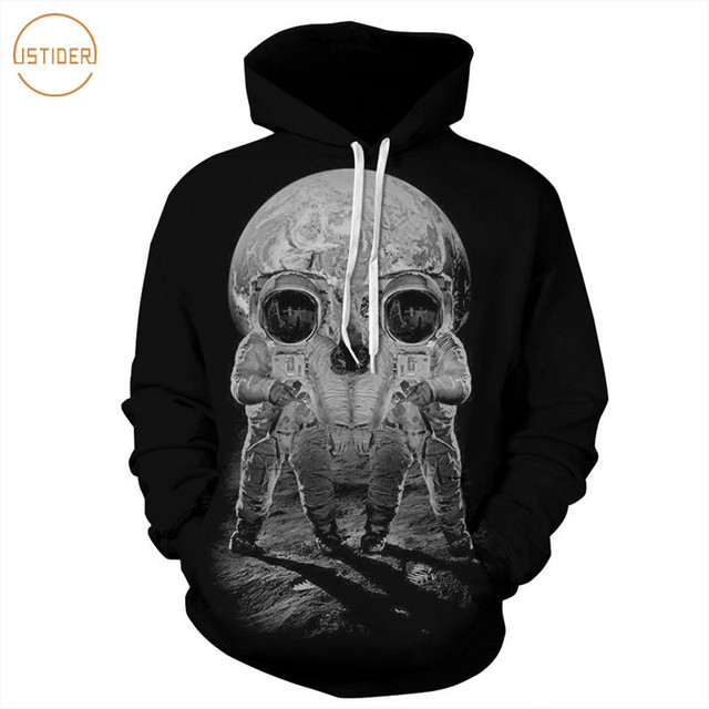 ISTider 2017 New Style 3D Printed Sweatshirts Astronaut On The Moon Skull  Design Black Hoody Casual