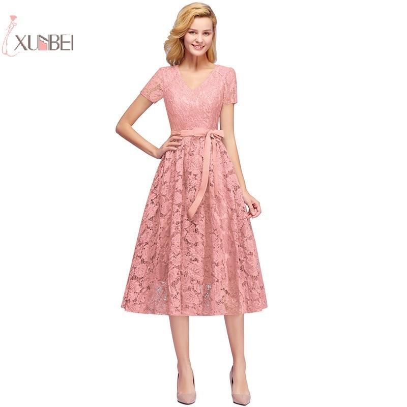 Elegant V Neck Real Photo Burgundy 2019 Lace Short Evening Dress A Line Short Sleeve Evening Gown Robe De Soiree