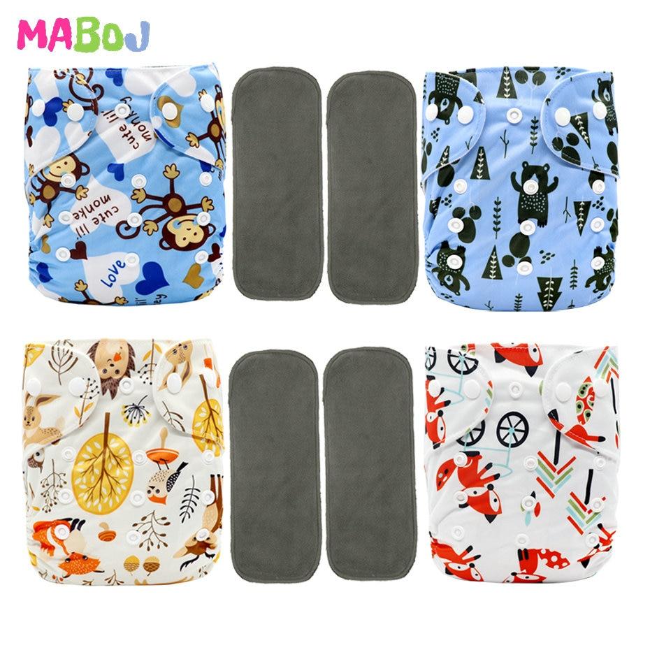 MABOJ ensemble de couches en tissu couche-culotte de poche taille unique couches imperméables couches lavables lavables lavables pour 6-38lbs (3-17 kg) bébé nouveau