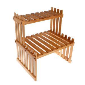 Image 4 - Pianta Mensola Del Fiore di Visualizzazione Del Basamento di Legno di Bambù Rack di Stoccaggio Giardino Organizzatore