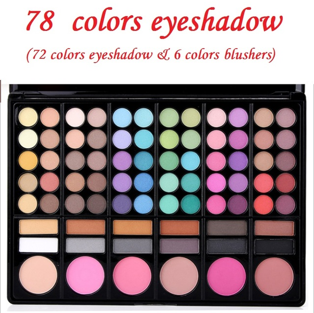 New Professional Makeup Set Pro 78 Full Color Eyeshadow Lip Gloss Blusher Palette Kit Eye Shadow Cosmetics