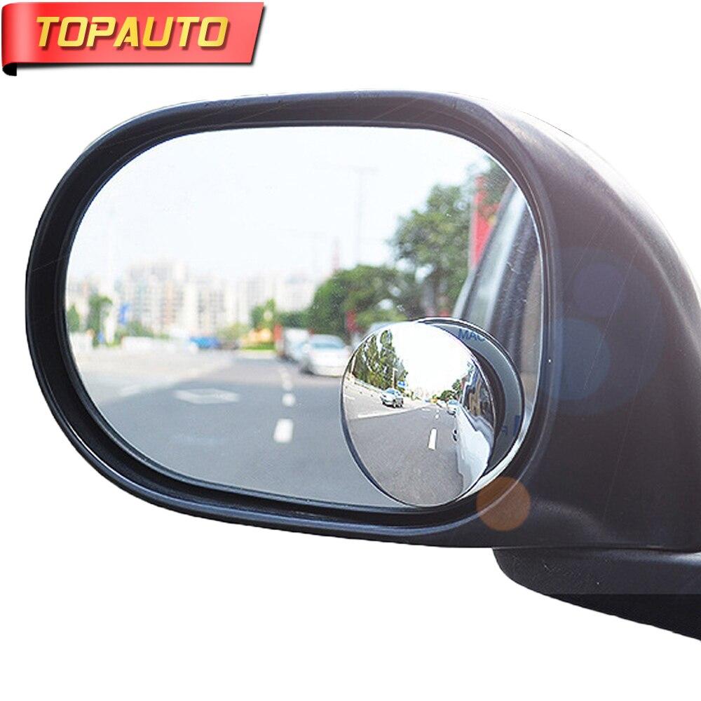 TopAuto 2 pcs 360 Degrés Voiture Blind Spot Rétroviseur Autocollants Réglable Grand Angle Rond Miroir Haute Définition Verre Convexe
