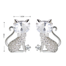 Earrings Full Zircons Small Cat Earrings