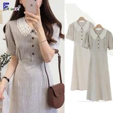 Vintage Kleider Heiße Verkäufe Frau Sommer Nette Süße Japan Korea Adrette Peter Pan Kragen Baumwolle Taste Hemd Kleid Retro 6918