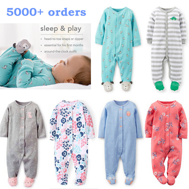 Brand 2017 Fashion Baby Pajamas Sleepwear Baby Clothing Baby Boys Clothes For Girls Rompers 100