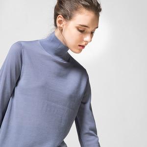 Image 4 - 여성 양모 풀오버 100% 울 스웨터 여성용 터틀넥 플랫 니트 2019 가을 겨울 bottoming 스웨터