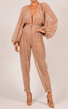 Yesexy 2020 Sexy long sleeve BELLE JUMPSUIT FRONGT button NUDE LACE stitching loose pocket playsuits Rompers VR18433 7