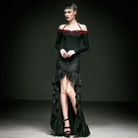 Готический стиль Великолепные кружевные хвостые длинные юбки асимметричный дизайн Вечерняя Женская Сексуальная облегающая юбка в пол