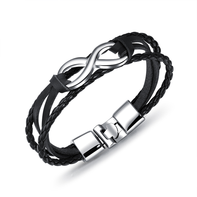 MAE Trendy Zinc Alloy 8 Shape Infinity Bracelet Multilayer Braided Leather Rope Men Chain Bracelet Fashion Jewelry Male Decor