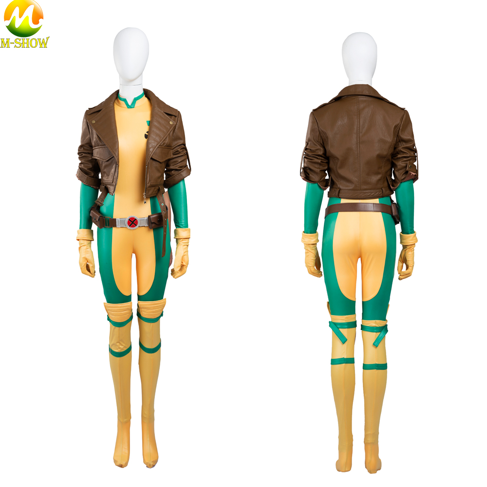 X men Rogue Cosplay Costume Superhero Rogue Leather Jacket Jumpsuit Halloween Costumes For Women Custom Made