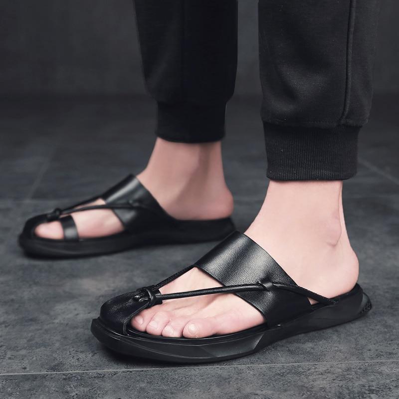 Sandals Men Leather Casual Shoes Slipper Breathable Summer Beach Male Shoes Flats Roman Sandals Flip Flops Men Shoes Footwear L5