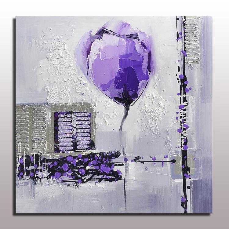 Purple Flower Oil Painting Abstract Wall Art Picture: Hotselling Handmade Decorative Purple Flower Painting