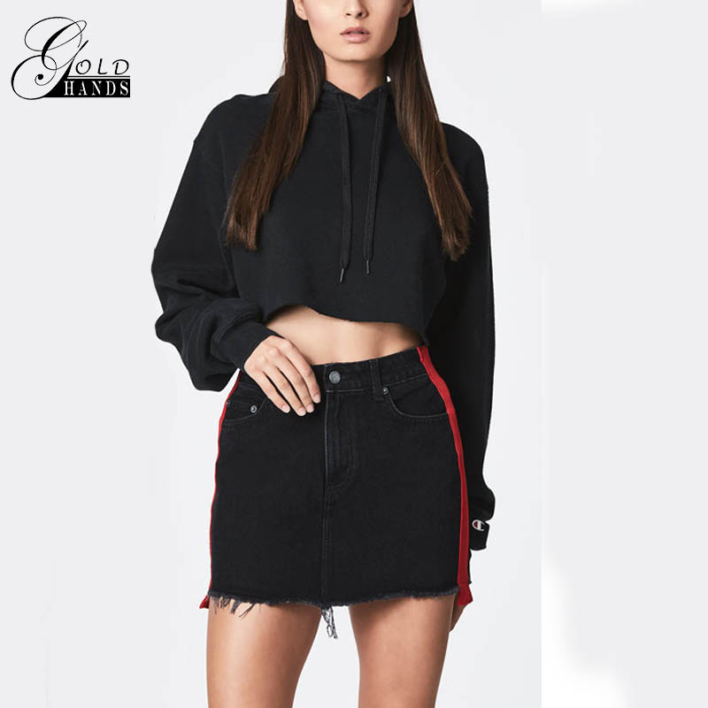 Gold Hands New Black Double-Sided Band With Red Female Casual Bust Lassel Black Skirt Spring Woman Summer High Waist Denim Skirt