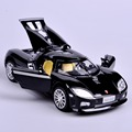 Collectible 1:32 Scale Black Koenigsegg Mini Alloy Metal Diecast Car Model  Sound Light Pull Back Toy Car  Kids Toys Gift