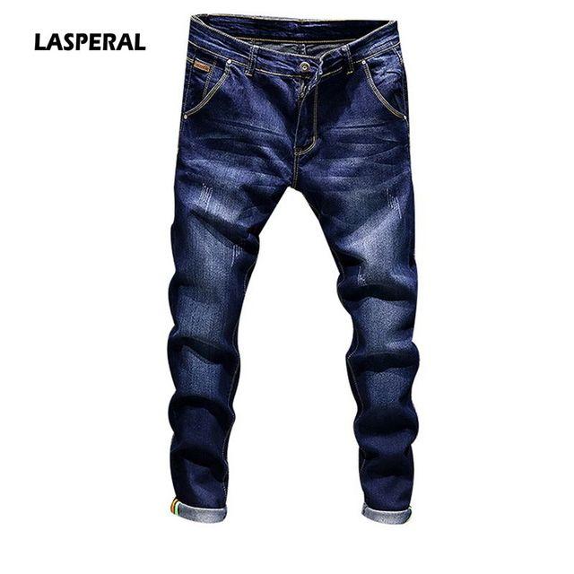 LASPERAL moda Skinny Jeans hombre recto azul oscuro 2018 nuevo impreso  hombres Casual Biker Denim Jean b8f320c63083