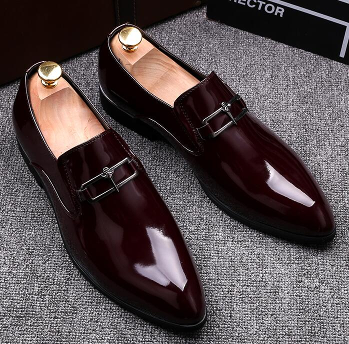 Mens business dress pointed toe  leather shoes slip-on mens shoes British patent leather  increased wedding shoesMens business dress pointed toe  leather shoes slip-on mens shoes British patent leather  increased wedding shoes