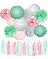 1 Satz Dekoration Kit Weiß Rosa Mint Seidenpapier Pom Poms Blumen Laternen Kreis Girlande Latex Luftballons Geburtstag Hochzeit Decor