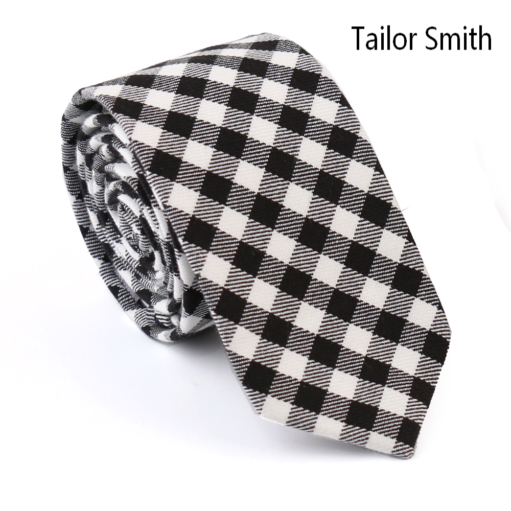Tailor Smith 100% Cotton Small Plaid Designer Skinny Necktie Fashion Casual Business Party Ties Mens Cravate Handmade Red Black