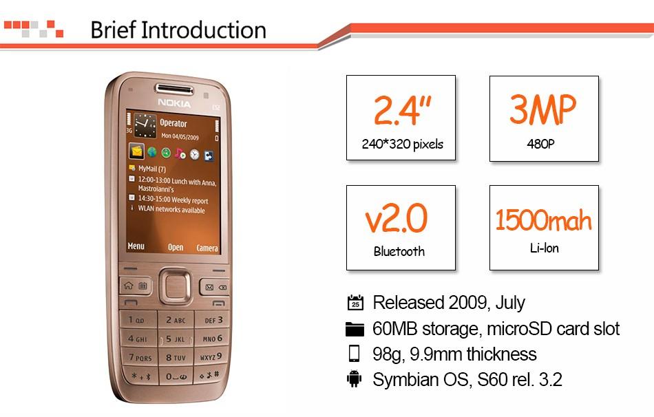 Refurbished phone Original Unlocked Nokia E52 GSM WCDMA cell phone Wifi Bluetooth GPS 3.2MP Camera black 3