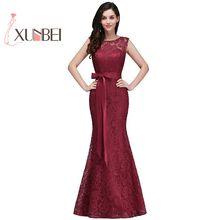 Женское вечернее платье русалка, бордовое и розовое кружевное платье для подружки невесты, официальное платье для выпусквечерние вечера