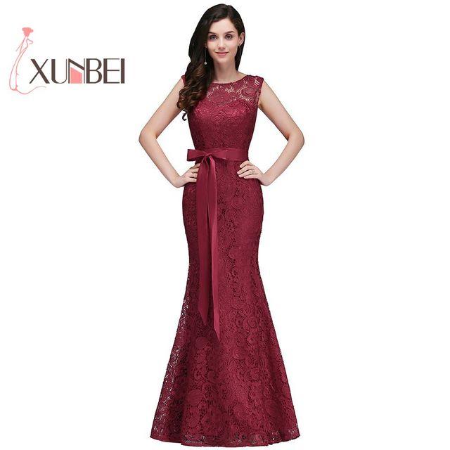 Robe de demoiselle dhonneur en dentelle rose poussiéreuse, bordeaux, robe de bal formelle avec ceinture