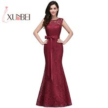Vestido de festa longo Mermaid Burgundy Dusty Pink Lace Bridesmaid Dresses Formal Prom Dress Party Gowns With Sash