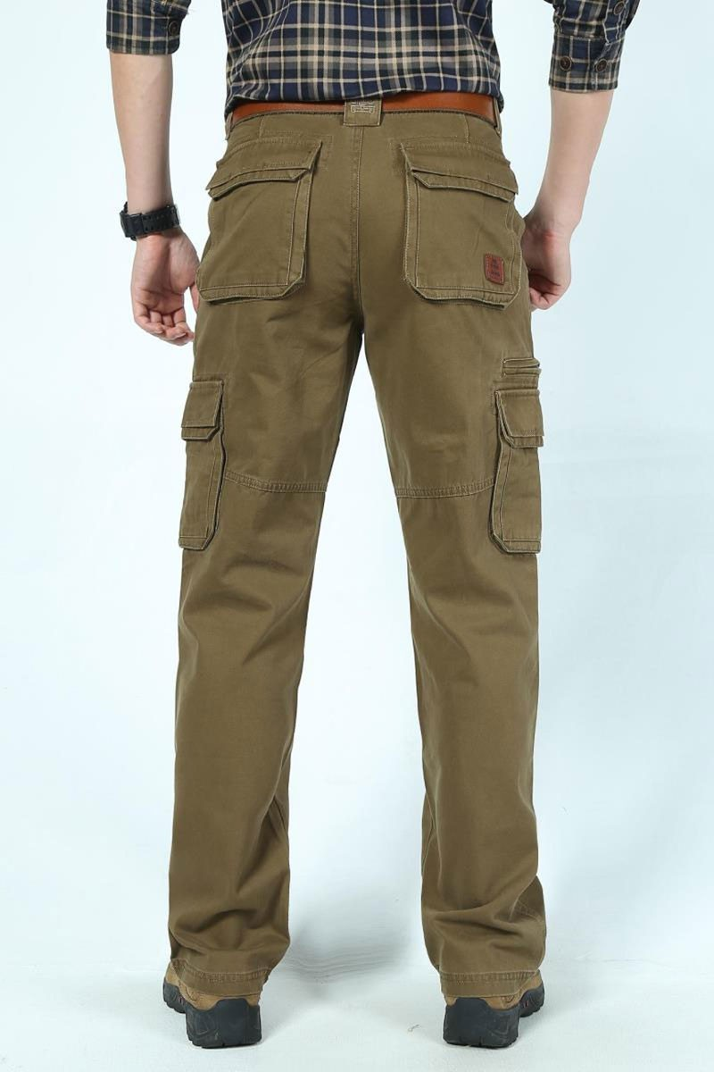 2016 Mens\' Spring Autumn Cotton Cargo Long Pants Pocket Brand AFS JEEP Casual Straight Plus Size Trousers Breathable Pants Khaki (16)