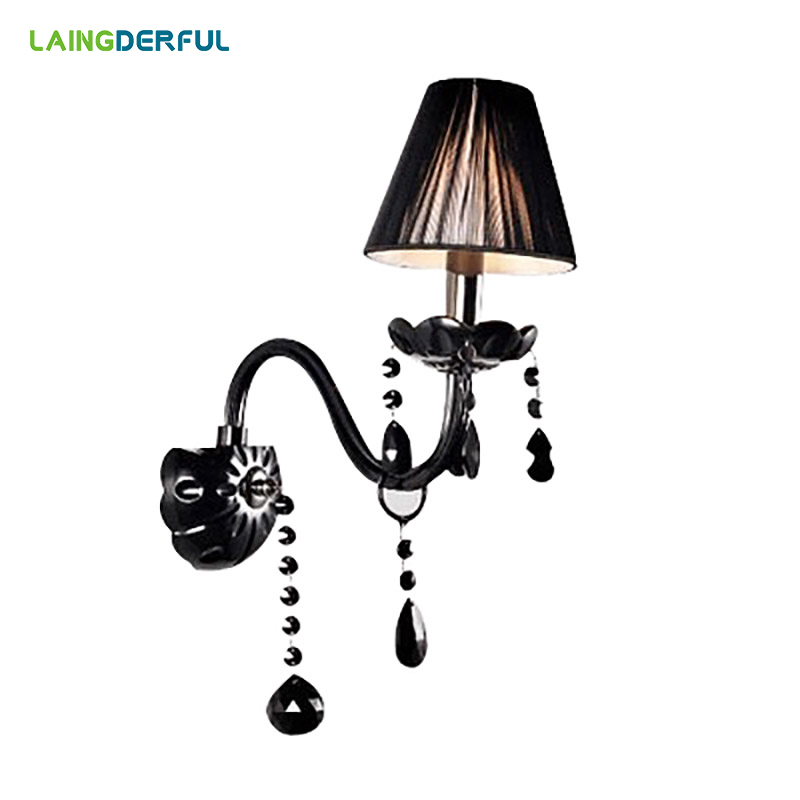 LAINGDERFUL Nordic Black Crystal Wall Lamps Luxurious Vintage Decoration Light Modern Inwall Lights For Bedroom Wall Lamps luxurious crystal wall lamp metal plating modern wall light hotel ideas wall lights indoor modern wall lamps art deco lighting