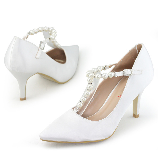 Lara S Brand White Wedding Shoes Woman Pointed Toe Satin Silk With Pearl T Bar 3