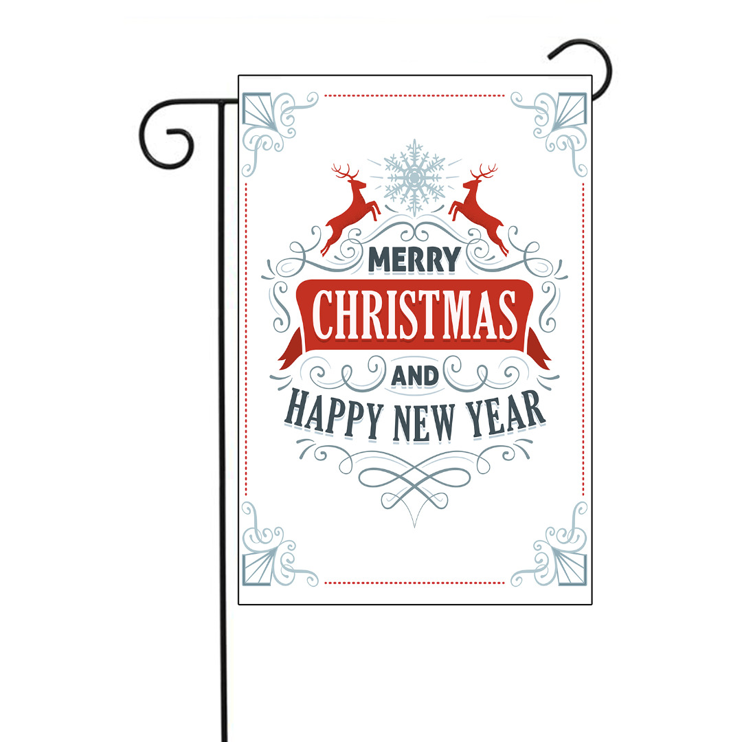 Simple Merry Christmas and Happy New Year Garden Flag ...