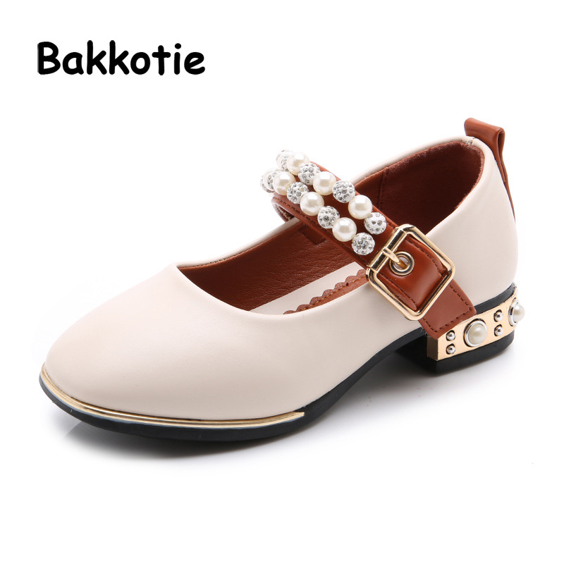 Bakkotie 2018 Spring New Fashion Baby Girl Pu Leather Pearl Rhinestone Heel Children Black Princess Shoes Kid Brand Mary Jane