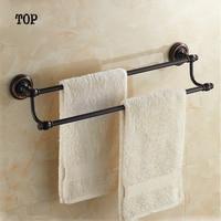 (60 cm) Wandmontage Mode Antieke Zwart Messing Afwerking Badkamer Accessoires Dubbele Handdoek Bar, handdoek Plank