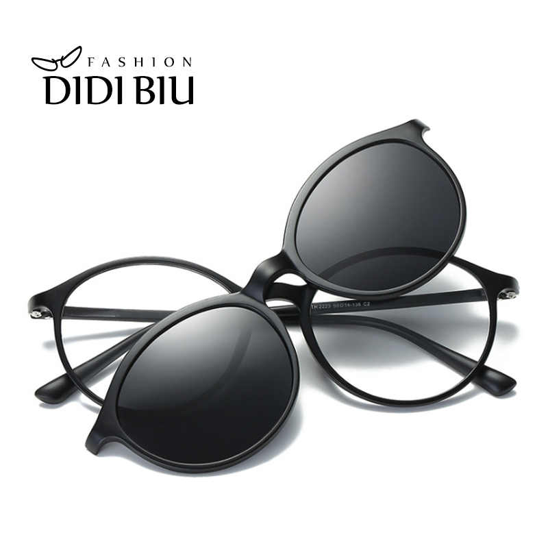 6bd9e597bf7 Oval Polarized Magnet Clip On Sunglasses Men Women TR90 Titanium Driving  Sun Glasses Double Lens Myopia