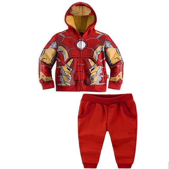 Мстители 1 Шт. 3-10yrs мальчика Мода Куртки и Пальто, Мальчика Тор Косплей Clothing набор Детей капитан Америка куртки толстовки