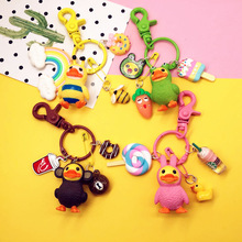 Fashion Little Yellow Duck Keychain 4 Styles Keyring Purse Bag Buckle HandBag Pendant For Car Key Chain Holder Women