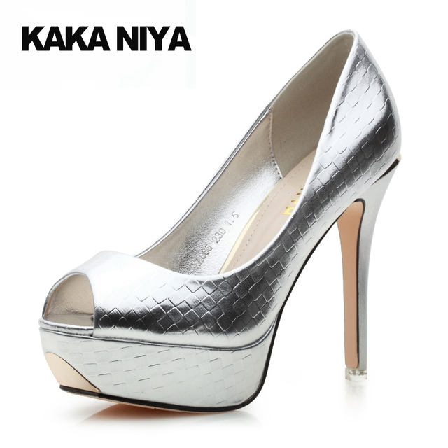 12cm 5 Inch Party Extreme Scarpin High Heels Silver Platform Women ...