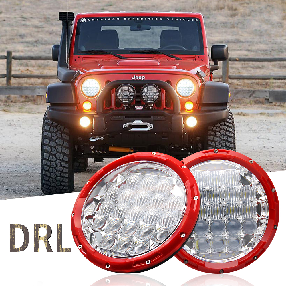 1 pair 7 Headlights Round Led Chip 75W 5D Lens H4 Hi/Lo Waterproof Car Daytime Running Lights for Jeep Uaz Niva 12V 24V h4 7 led headlights with led car canbus led chip 80w 8000lm 6000k hi lo led driving light for off road uaz lada