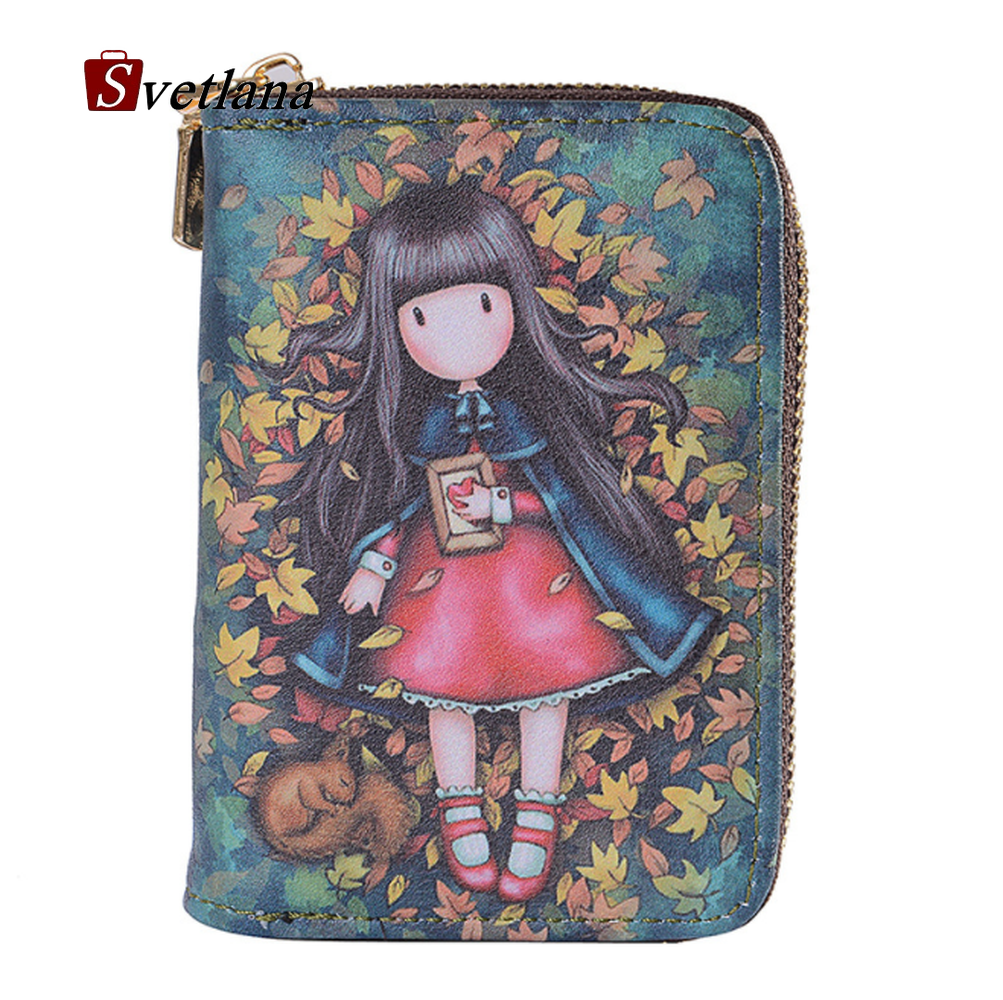 Women Wallet Purse-Bag Organizer Doll Business-Card-Holder Coin-Pocket Graffiti Female