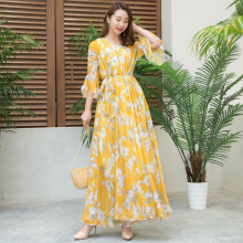 Summer chiffon flare sleeve bohemia plus size beach full maxi dress Flowers Runway Semi-Formal Party Beach Dress Plus Size все цены
