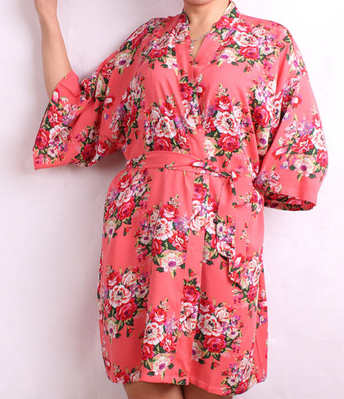 ecd6cc1cf6 New Floral Robes Women Wedding Bridal Kimono Robe Flower Cotton Lady Spa  Night Dress 12 colors Free Shipping-in Robes from Underwear   Sleepwears on  ...