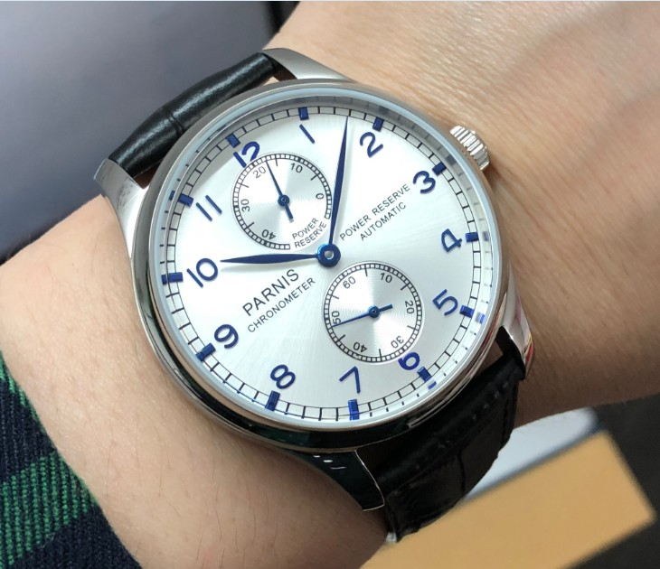 43MM PARNIS Automatic Self-Wind mechanical movement Silvery-white dial mens watch power reserve Mechanical watches pa131-p843MM PARNIS Automatic Self-Wind mechanical movement Silvery-white dial mens watch power reserve Mechanical watches pa131-p8