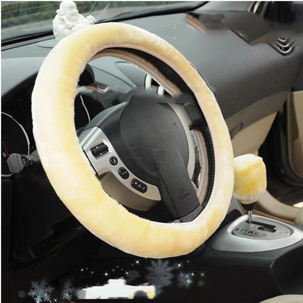 Soft Warm Plush Car Steering Wheel Cover Universal Auto Car Styling Steering Wheel Covers Accessories Yellow