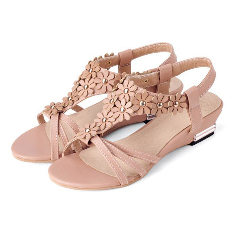 new arrival low heeled wedge sandals fashion summer
