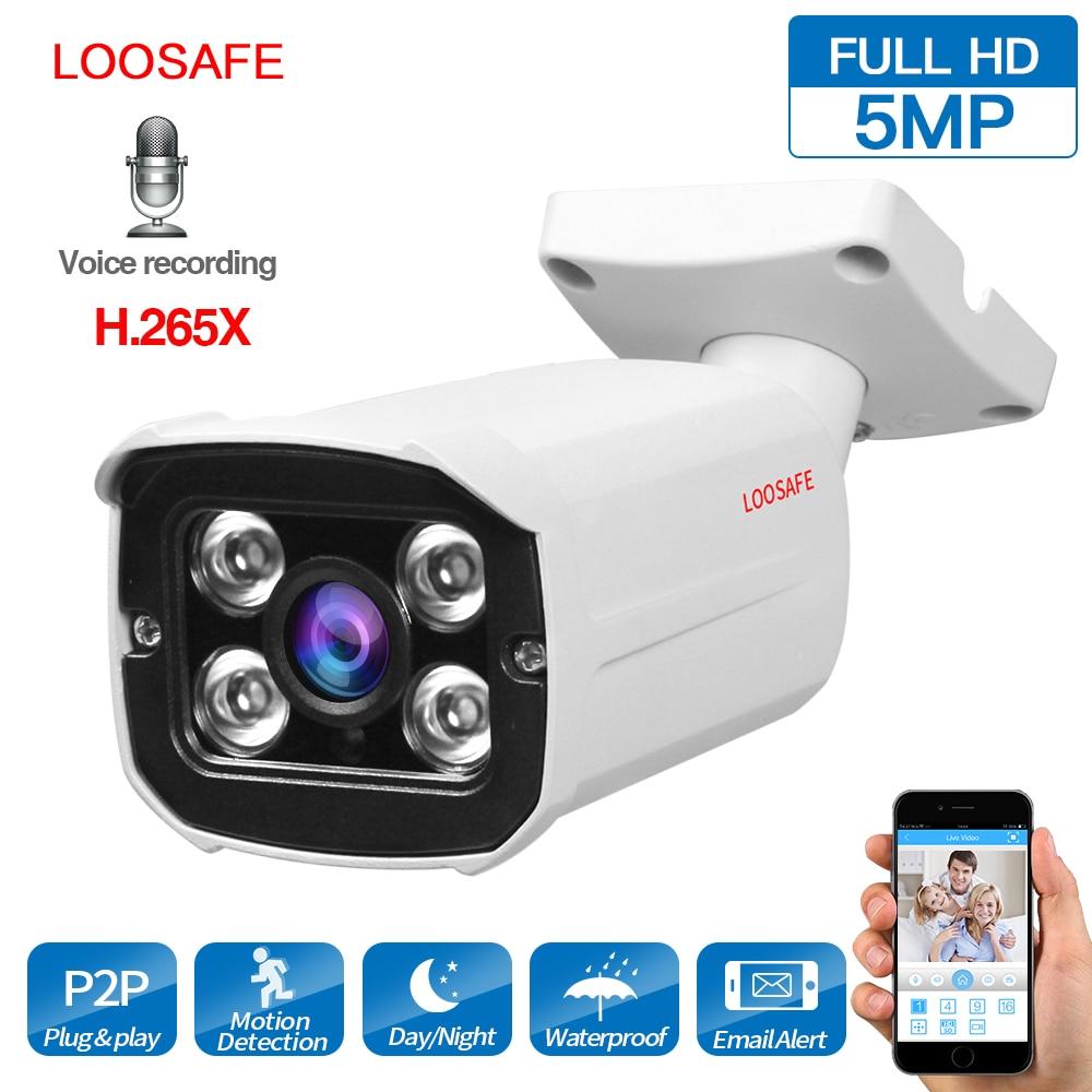 LOOSAFE IP Caméra Extérieure Bullet Caméra 5MP Réseau Caméra de Sécurité Vidéo CCTV IP66 Étanche de Vision Nocturne Caméra Vidéo